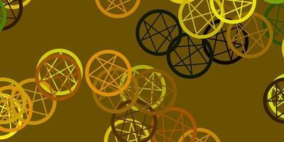 toile de fond de vecteur vert clair, jaune avec des symboles mystérieux.