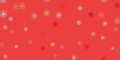 texture de doodle vecteur rouge et jaune clair avec des fleurs.