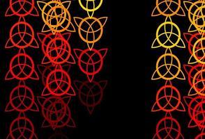 toile de fond de vecteur rouge et jaune foncé avec des symboles mystérieux.