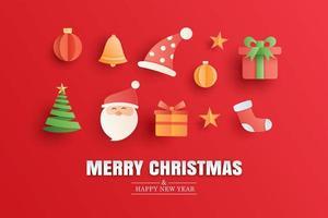 Joyeux Noël et bonne année carte de voeux rouge dans le modèle de bannière papier art. utiliser pour l'affiche, la couverture, le dépliant. vecteur