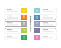 10 modèle d'infographie d'entreprise de données avec un design de ligne mince vecteur
