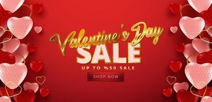 vente de la saint-valentin 50 off affiche ou bannière vecteur
