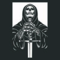 Grim Reaper avec illustration vectorielle de caractère épée, noir et blanc vecteur