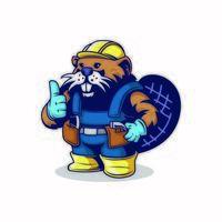 personnage de castor de travail vecteur