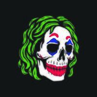 crâne de clown sur fond noir vecteur