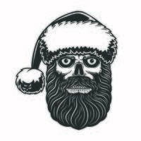 crâne barbu avec bonnet de noel pour la fête de noël