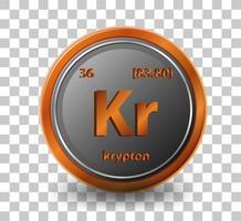 élément chimique krypton. symbole chimique avec numéro atomique et masse atomique.