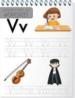 feuille de calcul de traçage alphabet avec lettre v et v vecteur