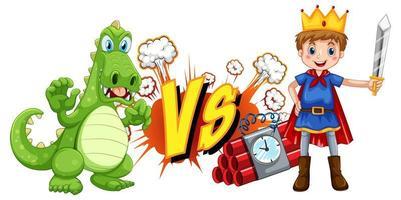 dragon et chevalier se battant sur fond blanc vecteur