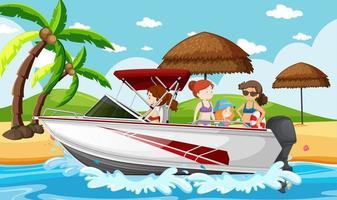 scène de plage avec des gens sur un bateau rapide vecteur