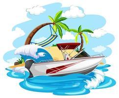 bateau à moteur sur la plage vecteur
