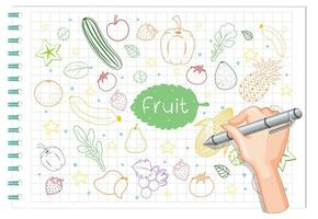 main, dessin, élément fruit, griffonnage, sur, papier vecteur