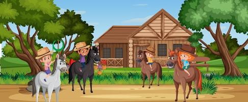 enfants à cheval dans la nature vecteur