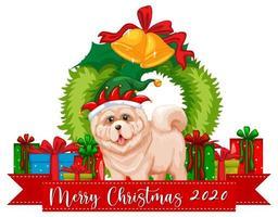 Joyeux Noël 2020 bannière de polices avec chien mignon et de nombreux cadeaux sur fond blanc