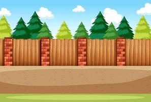 de nombreux pins avec une clôture vierge pour la scène de fond vecteur