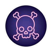 crâne et os croisés icône de style néon