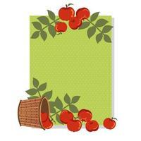 pommes d'automne dans un panier en osier avec décoration de feuilles vecteur