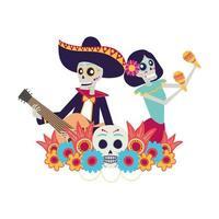 crânes de catrina et mariachi jouant des maracas et de la guitare