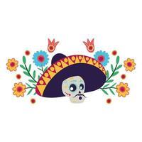 crâne de mariachi avec personnage de bande dessinée de fleurs vecteur