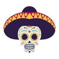 icône de personnage de bande dessinée de crâne de mariachi vecteur