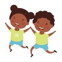 petits enfants africains couple personnages de bandes dessinées vecteur