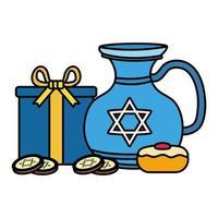 Pot de théière de hanukkah heureux avec cupcake sucré et pièces de monnaie vector illustration design