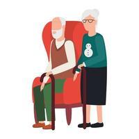 grand-mère et grand-père assis sur une chaise