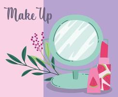 maquillage cosmétique produit mode beauté miroir et rouge à lèvres dessin animé vecteur