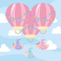 douche de bébé, bébés mignons volant dans des montgolfières, célébration bienvenue nouveau-né vecteur