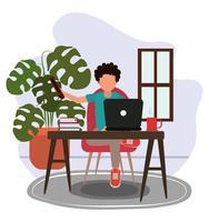 travaillant à la maison, gars avec une tasse de café pour ordinateur portable et des livres sur la table et la salle des plantes, les gens à la maison en quarantaine vecteur