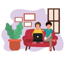 travaillant à la maison, couple utilisant un ordinateur portable avec une tasse de café dans les mains, les gens à la maison en quarantaine vecteur