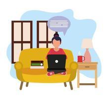 travaillant à la maison, femme utilisant un ordinateur portable dans le salon avec des livres et une tasse de café, les gens à la maison en quarantaine vecteur