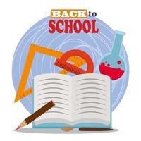 retour à l'école, crayon de rapporteur de règle de livre ouvert et flacon de chimie éducation élémentaire vecteur