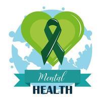 journée de la santé mentale, ruban dans le monde du cœur vert, traitement médical de psychologie vecteur