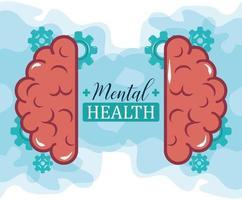 journée de la santé mentale, engrenages cérébraux mécaniques, traitement médical en psychologie vecteur