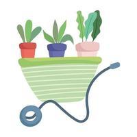 jardin heureux, brouette avec dessin animé de plantes en pot vecteur