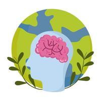 journée mondiale de la santé mentale, emblème de la planète cerveau tête profil