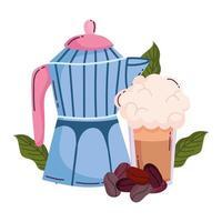 méthodes de préparation du café, smoothie pot moka et céréales vecteur