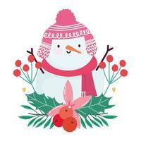 joyeux noël, fleur de dessin animé de bonhomme de neige et conception isolée de baies de houx
