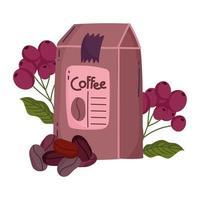 méthodes de préparation du café, emballer les graines de produits et les grains secs vecteur