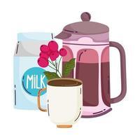 méthodes de préparation du café, tasse de lait et graines vecteur