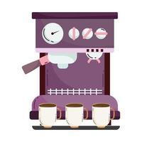méthodes de préparation du café, machine à expresso avec tasses vecteur