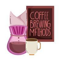 méthodes de préparation du café, tasse goutte à goutte et menu du tableau vecteur