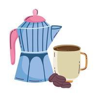 méthodes de préparation du café, tasse et graines de moka vecteur