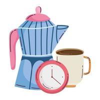 méthodes de préparation du café, tasse de moka et heure de l'horloge vecteur