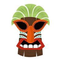 Masque tropical en bois tribal tiki isolé sur fond blanc vecteur