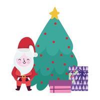 joyeux noël, dessin animé père noël arbre et coffrets cadeaux, conception isolée