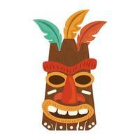 Masque en bois tribal tiki avec plume isolé sur fond blanc vecteur
