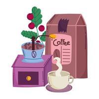 méthodes de préparation du café, produit de moulin manuel et boisson chaude dans une tasse vecteur