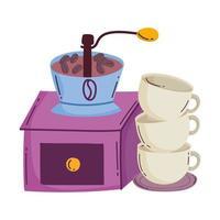méthodes de préparation du café, manuel du moulin et pile de tasses vecteur